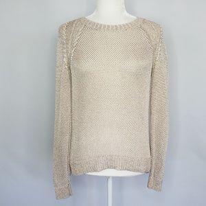 Cynthia Rowley white & gold metallic sweater Small